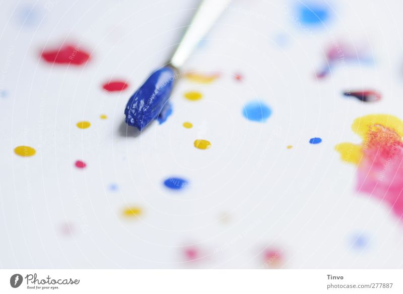 Blaupause blau weiß rot Farbe gelb hell Kunst Freizeit & Hobby malen Kreativität Tropfen Punkt Gemälde Fleck Pinsel Inspiration