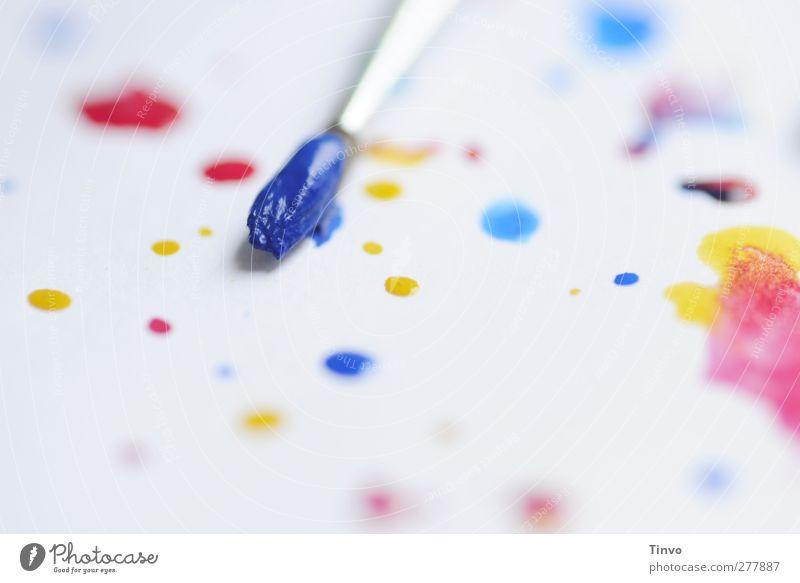 Blaupause Freizeit & Hobby hell blau mehrfarbig gelb rot weiß Gemälde Pinsel Farbe Wasserfarbe Aquarell Punkt Tropfen Farbtropfen Kunst malen Kreativität