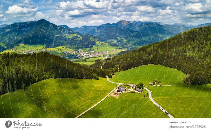 Himmel Ferien & Urlaub & Reisen Natur Sommer Pflanze schön grün Landschaft Baum Haus Wolken Wald Ferne Berge u. Gebirge Frühling Wiese