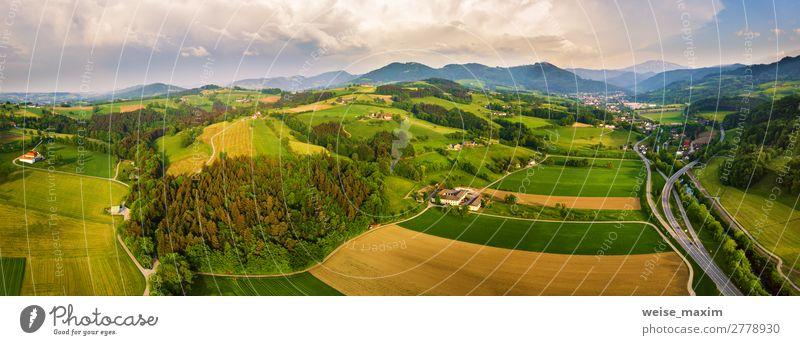 Himmel Ferien & Urlaub & Reisen Natur Sommer Pflanze schön grün Landschaft Baum Haus Wolken Wald Berge u. Gebirge Frühling Wiese Gras