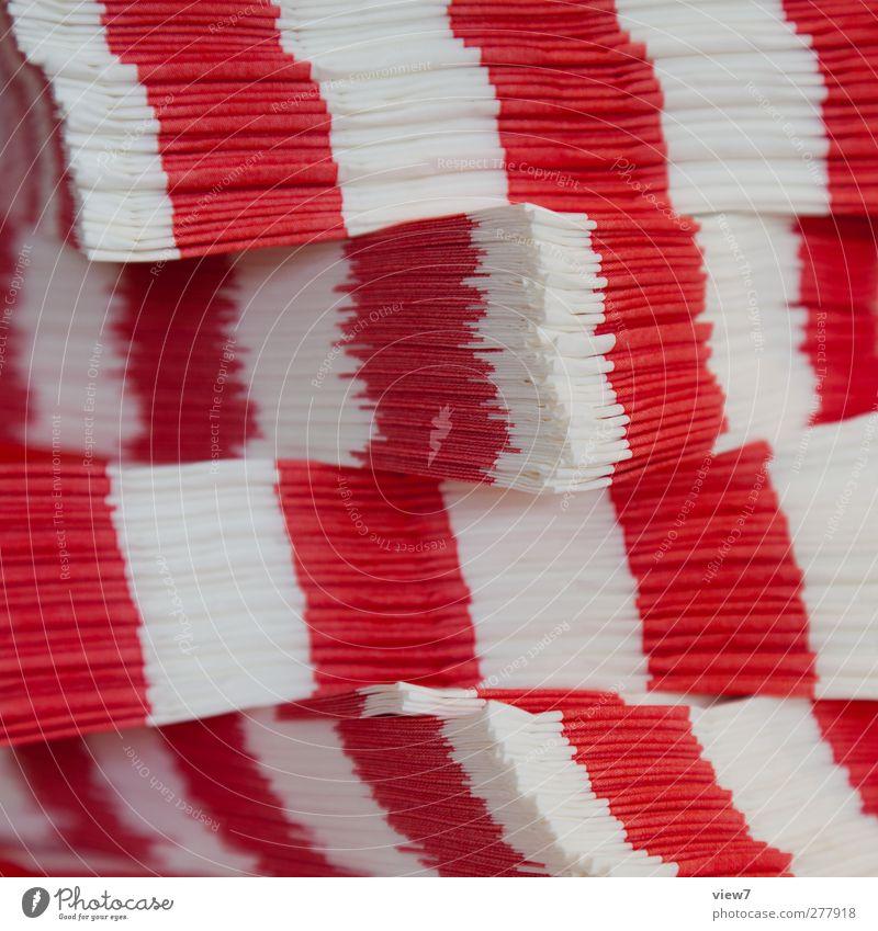 LAserviette Papier Linie Streifen ästhetisch authentisch einfach frisch modern positiv schön rot weiß Serviette Stapel Ordnung Büffet gestreift