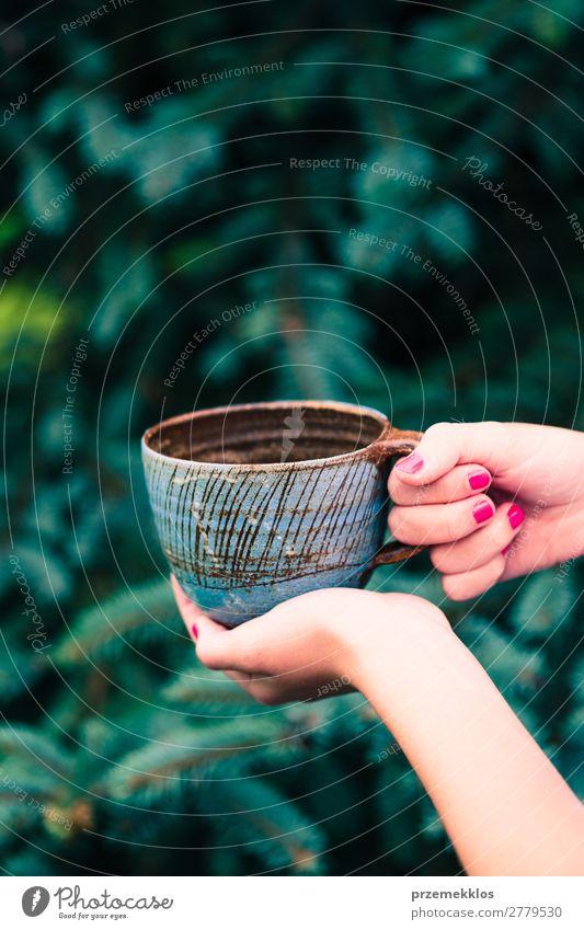 Weibliche Handtasse mit Kräutertee Kräuter & Gewürze Kaffee Tee Topf Lifestyle Design Sommer Dekoration & Verzierung Tisch Handwerk Kunst Natur Regen Holz nass