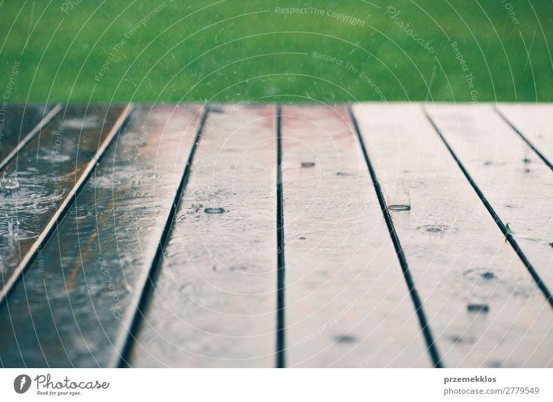Holzbohlen bei perspektivischem Regen mit Gras an der Spitze. Sommer Wetter Tropfen nass Hintergrund Holzplatte Schiffsplanken Veranda Regentropfen Jahreszeiten