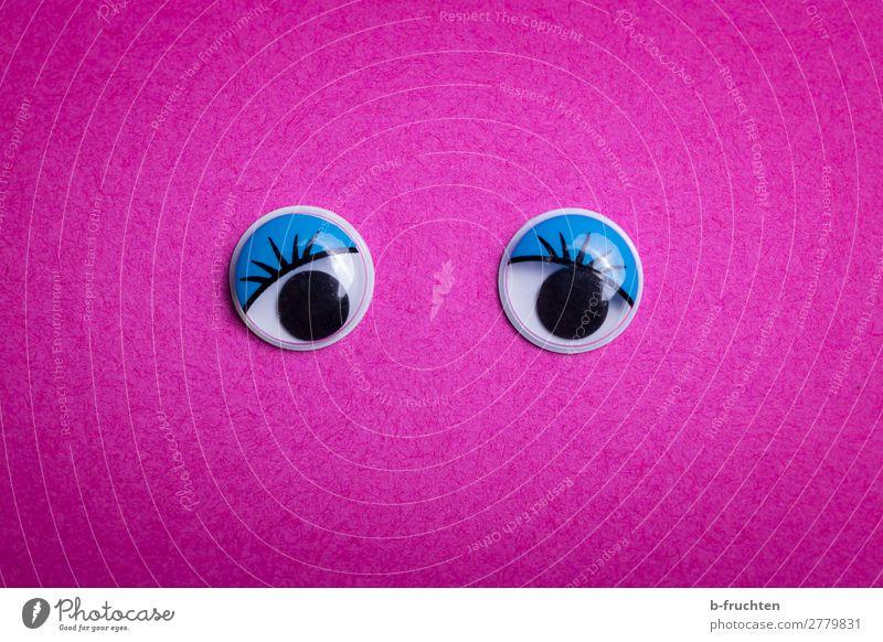 Augen auf! Schreibwaren Papier Dekoration & Verzierung beobachten Blick violett rosa wackelaugen Blick in die Kamera feminin Symbole & Metaphern Farbfoto