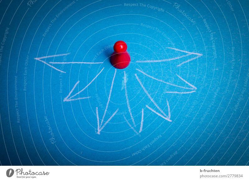 wohin jetzt? Business Karriere Erfolg Papier Zeichen Pfeil wählen entdecken gehen warten blau rot Zukunft Richtung Richtungswechsel wegweisend Wegweiser möglich