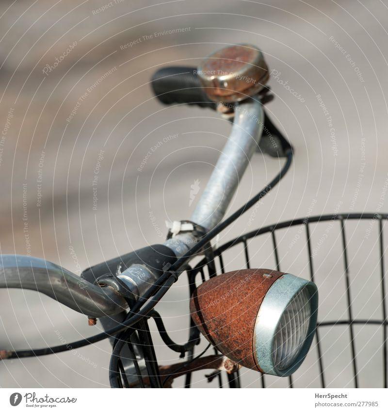 Rostlicht Fahrrad alt braun schwarz Fahrradlenker Licht Scheinwerfer Fahrradklingel Farbfoto Gedeckte Farben Außenaufnahme Menschenleer Textfreiraum links