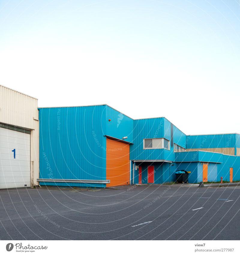 industry blau schön Haus Fenster Wand Architektur Mauer Gebäude Metall Tür Fassade Ordnung Design Beginn Beton authentisch