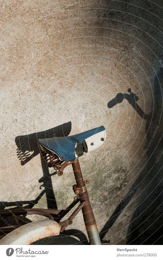 Schattenparker blau alt Wand Mauer braun außergewöhnlich Fahrrad kaputt Rost parken anlehnen Schattenspiel Fahrradsattel
