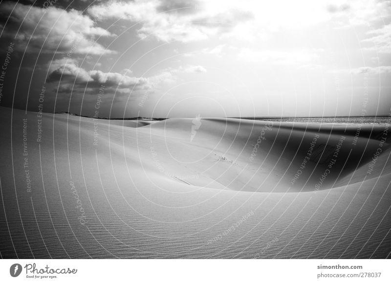 düne Umwelt Natur Landschaft Sand Luft Wasser Wolken Horizont Sonne Sonnenlicht Sommer Schönes Wetter Wellen Küste Strand Meer Insel Wüste Klima Cabo Verde