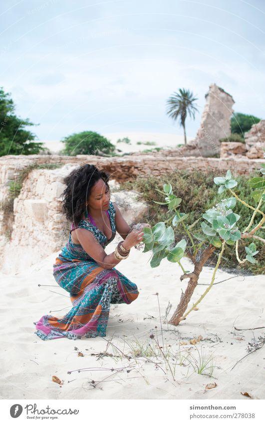 afrika Mensch Jugendliche Ferien & Urlaub & Reisen Sommer Sonne Strand Ferne Junge Frau Küste Arbeit & Erwerbstätigkeit Insel Kleid Wüste Afrika Sommerurlaub