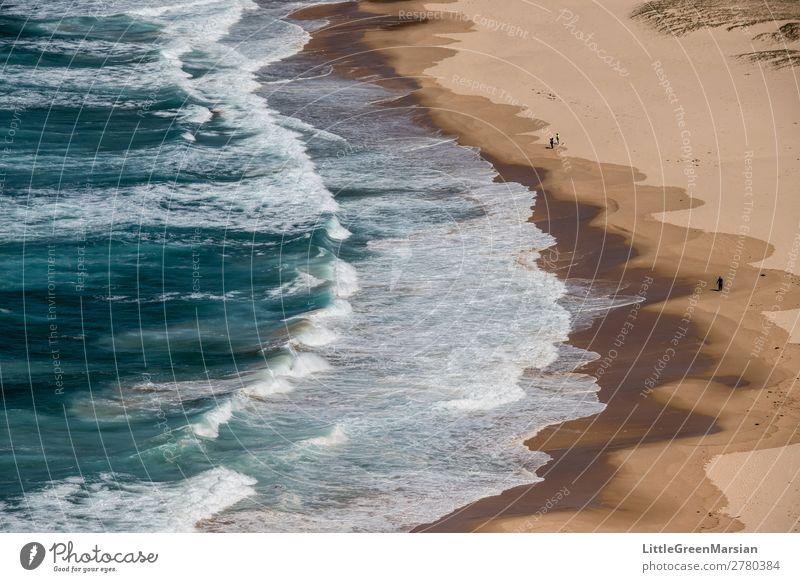 Natur Sommer blau Wasser weiß Landschaft Meer Strand Küste braun Sand Wellen gefährlich nass Urelemente türkis