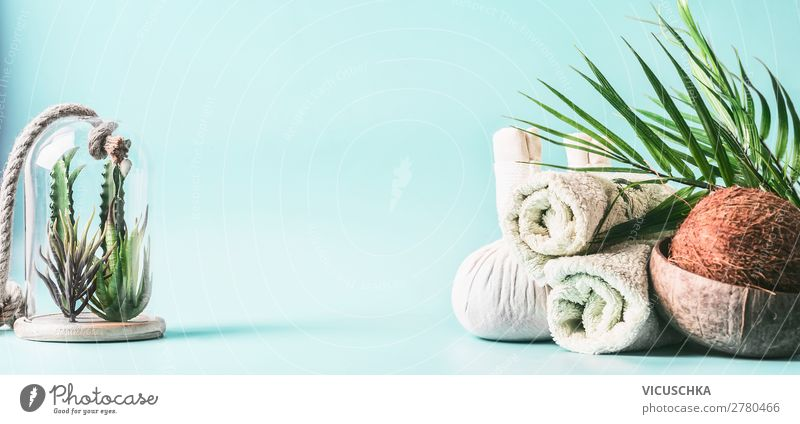 Spa Hintergrund. Massage und Wellness Behandlung. schön Erholung Gesundheit Hintergrundbild Stil Design Tisch Körperpflege Alternativmedizin Handtuch Kokosnuss
