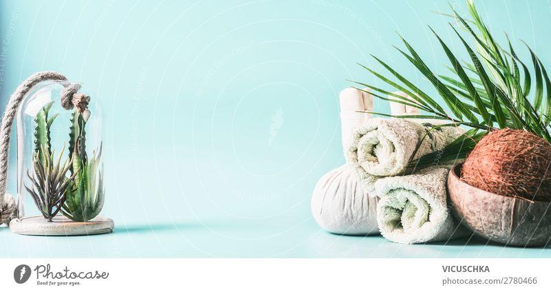 Spa Hintergrund. Massage und Wellness Behandlung. Stil Design schön Körperpflege Gesundheit Alternativmedizin Erholung Tisch Hintergrundbild Aloe Handtuch