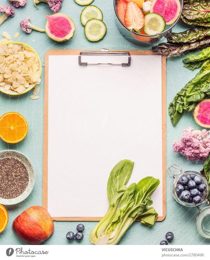 Smoothie Zutaten um Klemmbrett Lebensmittel Gemüse Frucht Apfel Orange Ernährung Bioprodukte Vegetarische Ernährung Diät kaufen Stil Design Gesundheit