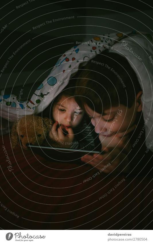 Brüder, die die Tafel im Dunkeln betrachten. Lifestyle Gesicht ruhig Spielen Schlafzimmer Kind Technik & Technologie Internet Mensch Junge Frau Erwachsene Mann
