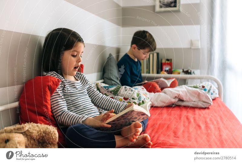 Mädchen und Junge lesen Buch jeder sitzt auf dem Bett Lifestyle schön Windstille Schlafzimmer Kind Schule Mensch Frau Erwachsene Mann Schwester Kindheit Hund