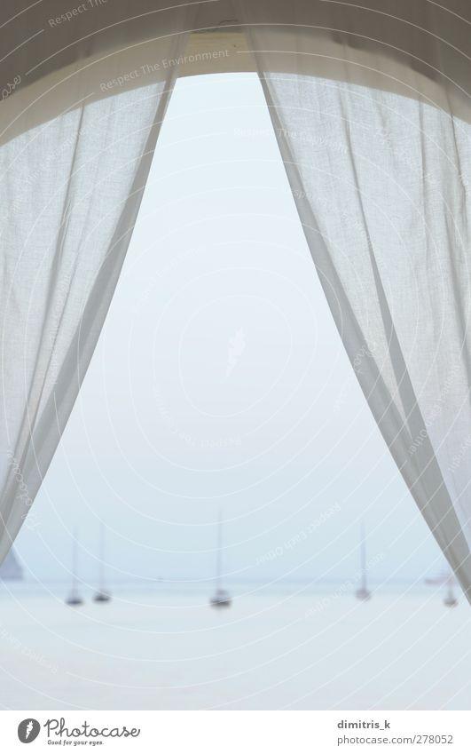 Segelboote Meer Sonnenuntergang Erholung ruhig Ferien & Urlaub & Reisen Ferne Sommer Natur Landschaft Wasser Himmel Horizont Küste Balkon Jacht Wasserfahrzeug