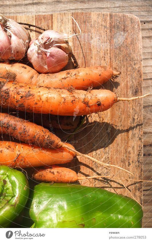 frisch Lebensmittel Gemüse Ernährung Essen Bioprodukte Vegetarische Ernährung genießen Gesundheitswesen rein Wachstum Möhre Paprika Knoblauch Garten Ernte