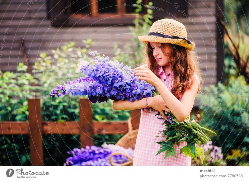 Romantisches Porträt eines glücklichen Mädchens, das einen Blumenstrauß pflückt Glück schön Spielen Sommer Haus Garten Dekoration & Verzierung Kind Gartenarbeit