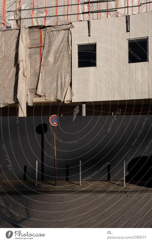 sanierung Baustelle Düsseldorf Stadt Menschenleer Bauwerk Gebäude Architektur Mauer Wand Fassade Verkehr Verkehrswege Wege & Pfade Verkehrszeichen