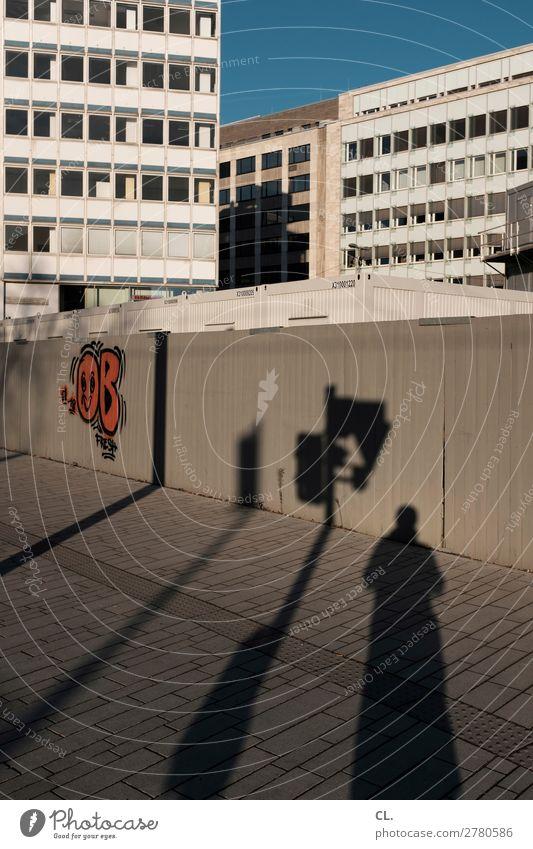berliner allee Baustelle Mensch maskulin 1 Wolkenloser Himmel Schönes Wetter Düsseldorf Stadt Stadtzentrum Haus Hochhaus Platz Gebäude Architektur Fassade