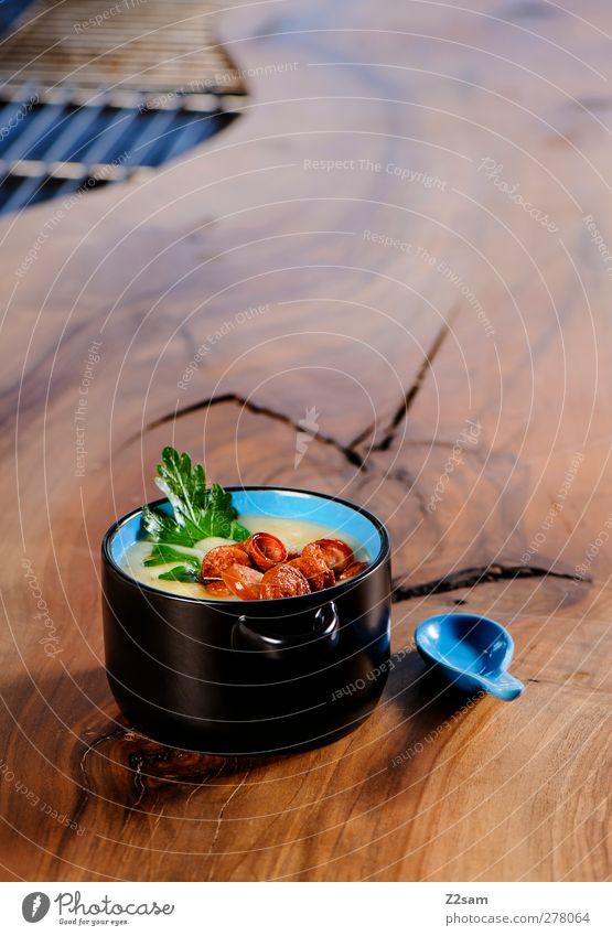 lecker suppe Wurstwaren Suppe Eintopf Kräuter & Gewürze Holz einfach frisch Gesundheit heiß Lebensmittel Ernährung Schalen & Schüsseln Löffel Küche Restaurant