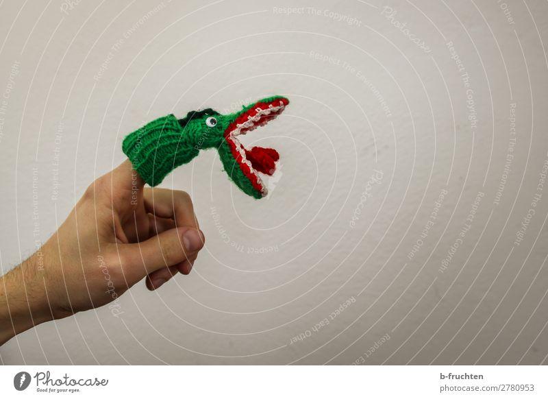 Zubeißen Freude Entertainment Hand Finger Puppentheater Show Spielzeug wählen festhalten grün Maul Krokodil Spielen zubeißen offen Offener Mund Fingerpuppe