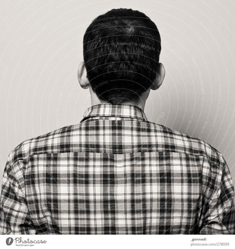 2 Mensch maskulin Junger Mann Jugendliche Erwachsene Körper Rücken 1 18-30 Jahre warten kariert kahl Rückansicht Schwarzweißfoto Kunstlicht Blitzlichtaufnahme