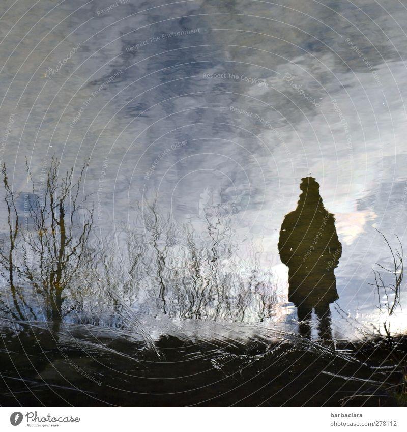 Ballade vom Fischer feminin Frau Erwachsene 1 Mensch Urelemente Wasser Himmel Sträucher Teich See beobachten Bewegung stehen warten dunkel blau schwarz weiß