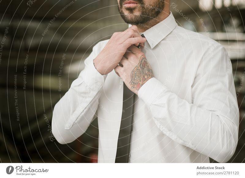 Crop Mann Einstellschraube gutaussehend Stil Erwachsene Mode Krawatte ausrichten Mensch modisch Porträt Model attraktiv Typ modern trendy Macho Bekleidung