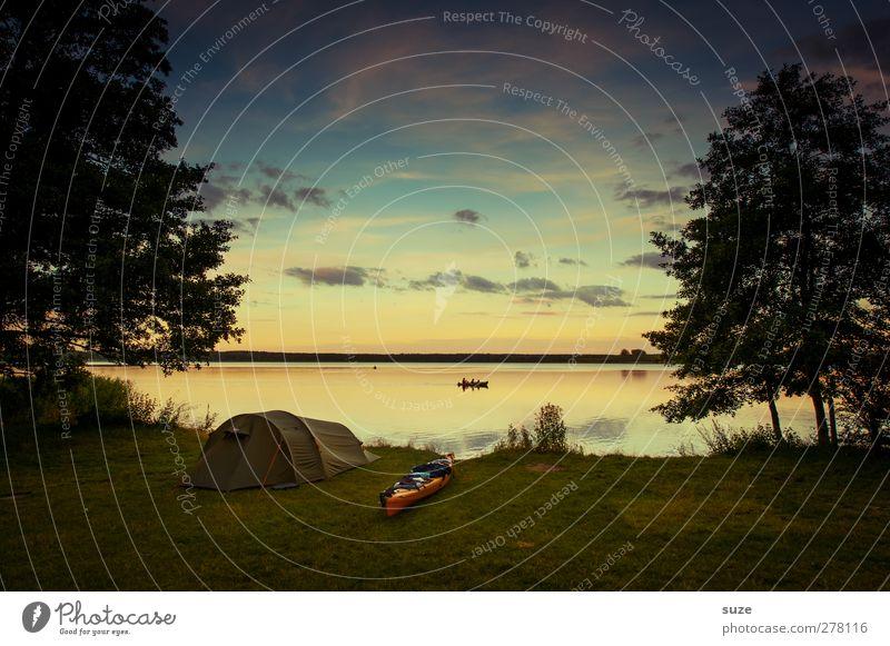 Am Ende des Tages Himmel Natur Wasser Ferien & Urlaub & Reisen Sommer Baum Wolken ruhig Umwelt Wiese See Horizont Freizeit & Hobby Ausflug authentisch Abenteuer
