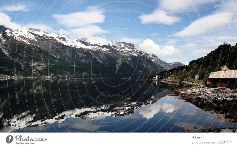 Spieglein Spieglein Umwelt Natur Landschaft Wasser Himmel Schönes Wetter Berge u. Gebirge Schneebedeckte Gipfel Erholung wandern Einsamkeit Alpen Holzhütte