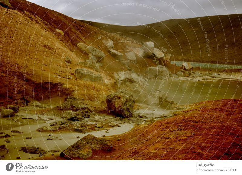 Island Umwelt Natur Landschaft Urelemente Erde Hügel Vulkan Krafla heiß natürlich Wärme Geothermik Farbfoto Gedeckte Farben Außenaufnahme Menschenleer Tag