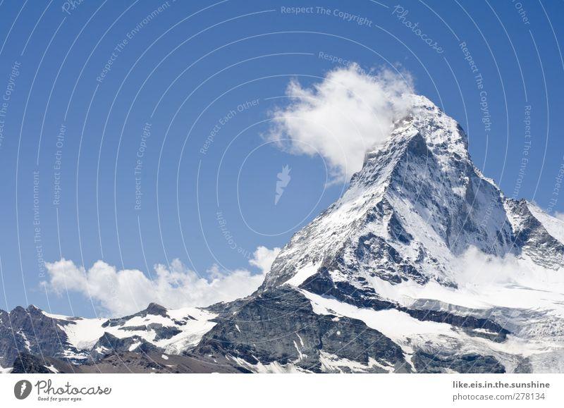 das ist doch der gipfel! Himmel Natur blau Sommer Einsamkeit Wolken ruhig Landschaft Umwelt Berge u. Gebirge Schnee Frühling Eis Felsen groß Urelemente