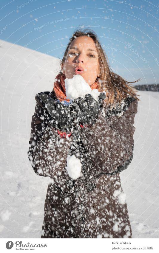 Frau pustet Schnee von ihren Händen Erwachsene Gesicht Hand 1 Mensch Himmel Winter gebrauchen berühren festhalten frech Außenaufnahme blasen Schneeflocke