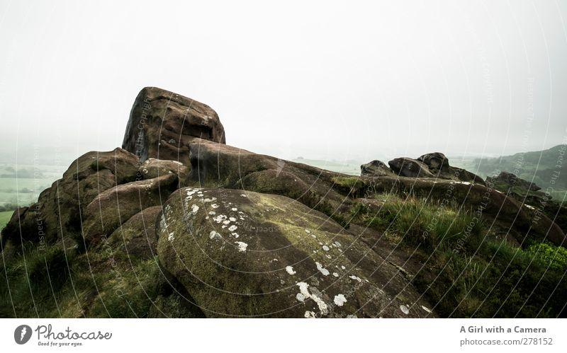 oben angekommen Umwelt Natur Landschaft Pflanze Himmel Wolken Frühling schlechtes Wetter Nebel Moos Hügel Felsen Berge u. Gebirge Gipfel hoch grau grün alt hart