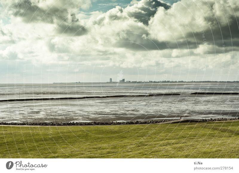 der gewaltige St. Deich Landschaft Luft Wasser Wolken Gewitterwolken Frühling Sommer Herbst Gras Nordsee Wattenmeer beobachten Erholung blau grau grün Tourismus