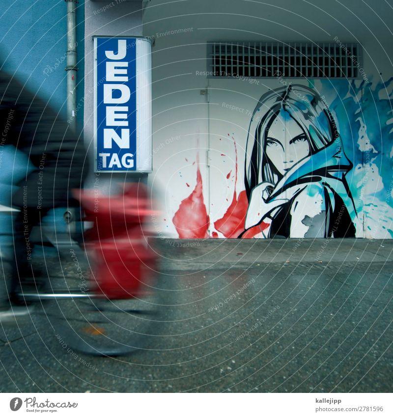 in zwei tagen ist morgen, gestern. Frau Mensch Jugendliche schön Gesicht Straße Erwachsene Graffiti Wand Wege & Pfade Mauer Haare & Frisuren Kopf Verkehr