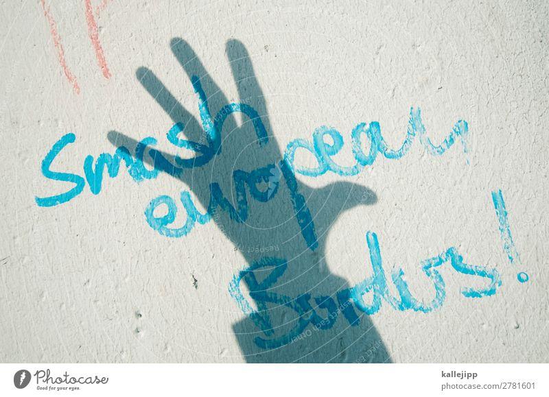 eu ro pa Mensch Hand Graffiti sprechen Kunst Europa Schriftzeichen Kultur Finger Jugendkultur Zeichen Unendlichkeit Bildung Grenze Politik & Staat Künstler