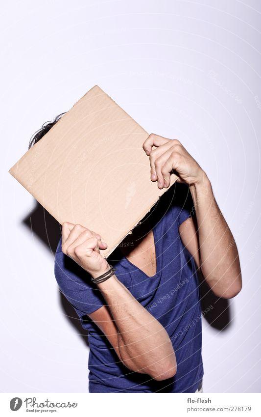 Pappface maskulin Mann Erwachsene 1 Mensch 18-30 Jahre Jugendliche 30-45 Jahre Kunst Show Papier Zettel Karton Schilder & Markierungen Schutzschild frei trashig