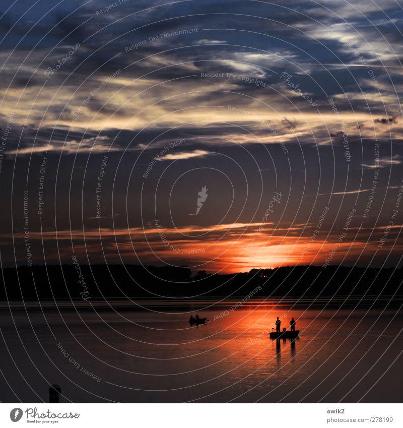 Nachtangler Mensch Umwelt Natur Landschaft Luft Wasser Himmel Wolken Horizont Klima Wetter Schönes Wetter See Erholung genießen leuchten warten dunkel