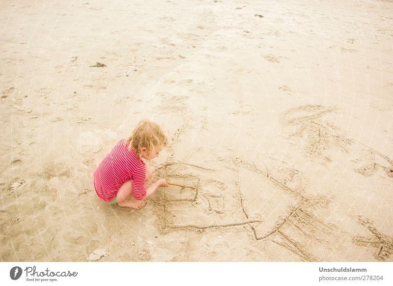 Haus am Meer Mensch Kind Ferien & Urlaub & Reisen Sommer rot Erholung Mädchen Freude Strand Haus Leben Gefühle Sand Körper Kindheit Freizeit & Hobby