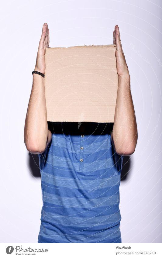 Papp-Schädel-Roboter Mensch Mann Jugendliche blau alt Freude Erwachsene lustig Junger Mann 18-30 Jahre maskulin Schilder & Markierungen frei ästhetisch Medien