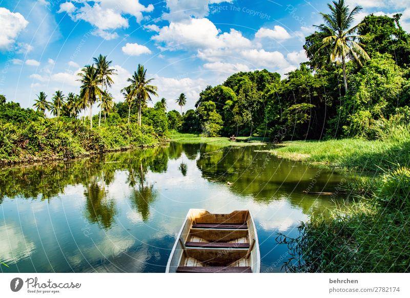 innere ruhe Himmel Ferien & Urlaub & Reisen Natur blau schön grün Landschaft Baum Wolken ruhig Ferne Tourismus außergewöhnlich Freiheit Wasserfahrzeug Ausflug