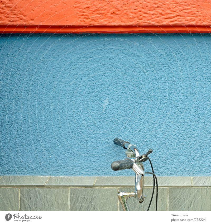 Auf ins Grüne! Fahrrad Heidelberg Haus Mauer Wand Stein Metall ästhetisch Sauberkeit blau grau rot stehen anlehnen Farbfoto mehrfarbig Außenaufnahme