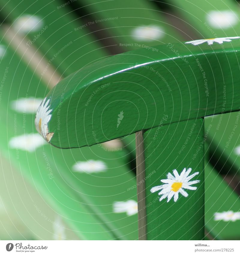 blumenbank grün schön Farbe Erholung Design Idylle Bank Stuhllehne Holzbank Blumenmuster Gartenbank