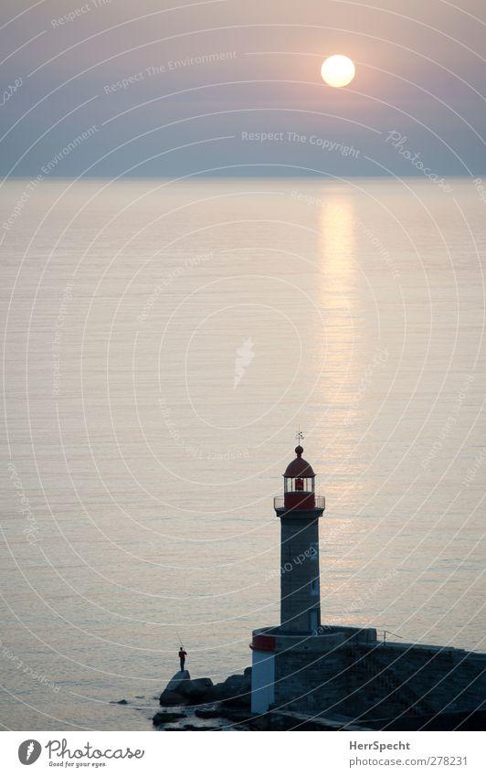 Morgenangler Angeln Mensch maskulin Mann Erwachsene 1 ästhetisch friedlich ruhig standhaft Zufriedenheit Erholung meditativ Leuchtturm Angler Felsen