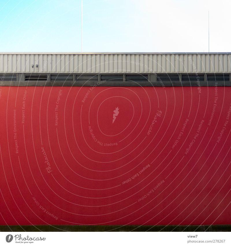 red one rot Haus Fenster Wand Architektur Mauer Gebäude Stein Linie Fassade Ordnung Beton authentisch modern frisch Streifen