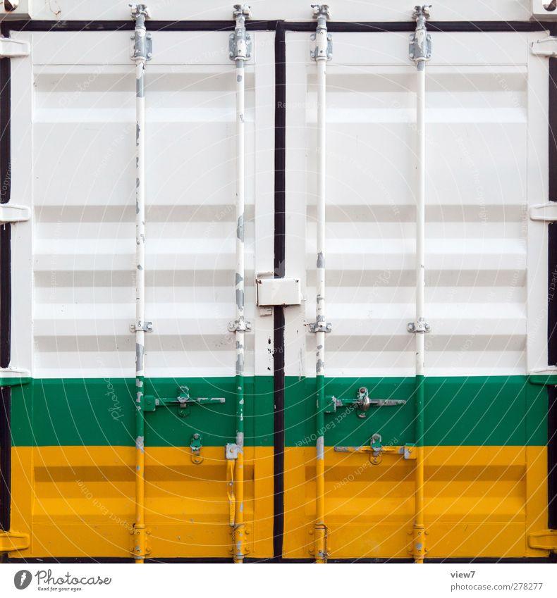 seecontainer grün gelb Wand Mauer Metall Linie Tür außergewöhnlich Ordnung authentisch frisch modern Streifen Industrie einfach Grafik u. Illustration
