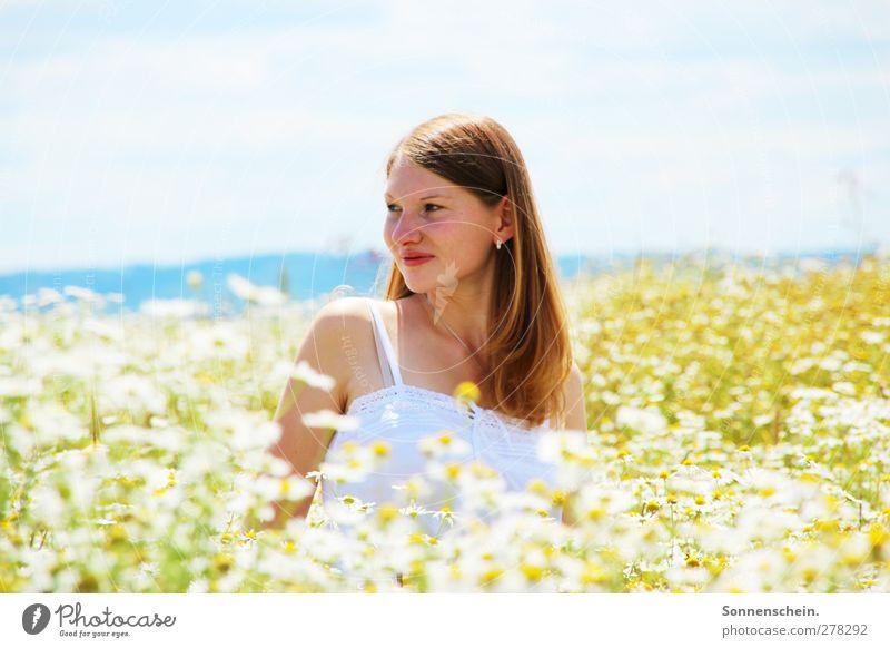summer dreaming Zufriedenheit Sommer feminin Junge Frau Jugendliche Kopf 18-30 Jahre Erwachsene Natur Landschaft Sonnenlicht Schönes Wetter Blume Blüte Wiese